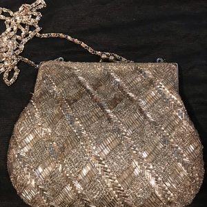 Vintage silver beaded bag.
